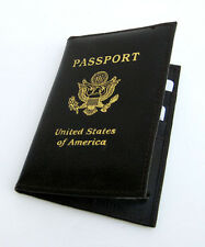 Black USA PASSPORT COVER Travel Leather ID Credit Card Wallet Document Holder P2