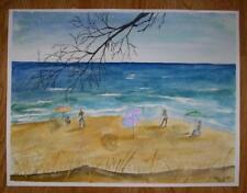New listing FOLK ART NAIVE SUN BATHERS SWIMMING NAUTICAL BEACH OCEAN LISTED ARTIST PAINTING