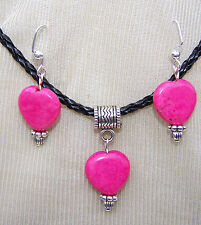 PINK HEART STONES ON BLACK  CORD NECKLACE & EARRINGS~~handmade