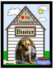 PERSONALIZED CHIWEENIE DOG PHOTO MAGNET ~ DOGHOUSE DESIGN