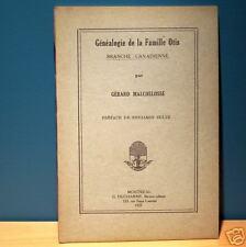 Généalogie de la famille OTIS genealogy family book Gérard Malchelosse QUEBEC