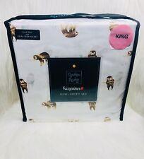 🌸Cynthia Rowley King Extra Deep Fitted Sheet Set 4 Pc - Sloth Print