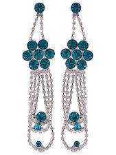 Fashion Flower Cluster Clear Crystal Multi Loop Dangle Chandelier Drop Earrings
