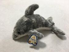 """NWT Aurora Flopsies Gray White Drake Dolphin Plush Stuffed Animal 14"""""""