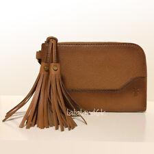 FRYE Paige Tassel Brown Tan Leather Zip Wallet Wristlet Bag NWT