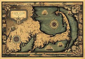 "1931 Pictorial Map Cape Cod Massachusetts 11""x16"" Wall Art Poster Print Decor"