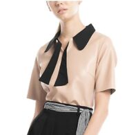 Gracia Leather Top Which Has Contrast Collar  Size M /Beige
