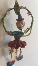 Katherine's Collection Retired Circus Monkey Ornament Pink Nos