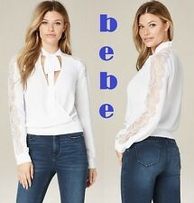 BEBE Lace Inset Tie Neck Bright White Long Sleeve New (RT$79) Blouse Size XS