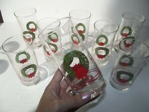 (8) Tumblers 14 oz Glasses signed libbey Christmas Holiday Wreath red poinsettia