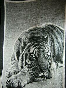 "Biederlack TIGER Soft Blanket, Throw 77"" X 54""  Reversible Black / White"