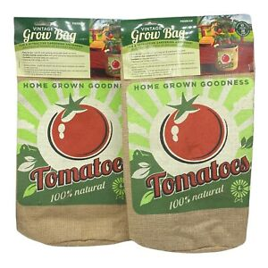 Lot Of 2 Panacea Vintage Styled 10 Gallon Burlap Reusable Tomato Grow Bag Pot