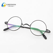 Luxury Titanium Round Retro Eyeglass Frames RX able Optical Eyewear Unisex Black