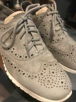 Cole Haan Grand.OS Womens Wing Tip Ironstone Suede-Optic White Sole Size 7.5 B