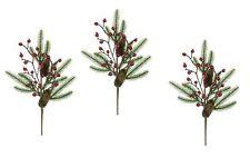 3 x Mixed Berry & Pine Cone Sprays Christmas Tree Wreath Decoration Pick 45cm