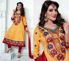 YELLOW-RED COTTON ANARKALI INDIAN SALWAR KAMEEZ SUIT MATERIAL w EMBR LADIES DEN