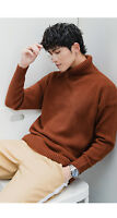 Cool Mens Sweater Cashmere Winter Wool Knit turtleneck  Warm Jumper Pullove
