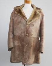 vtg WOLFF OF CANADA Button Sheepskin SHEARLING Coat Men's LARGE L Jacket Fur