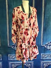 LA REDOUTE Watercolor Rose Floral Shirt Dress SZ 4 US Pintuck Ruffle Pink Sash