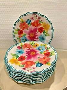 THE PIONEER WOMAN BREEZY BLOSSOMS DESIGN  9 INCH SALAD PLATE MELAMINE BEAUTIFUL