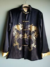 Chinese style men M dark blue black jacket with golden dragon women XL