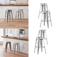 4pcs Stainless Steel Dining Chairs Metal Side Chairs Home Outdoor Silver Chairs