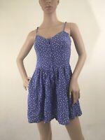 H&M Divided Womens Blue White Hearts Spaghetti Strap Sun Dress Size 4