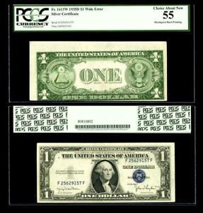 Misaligned Back Printing Error Fr.1613W $1 1935D Wide Silver Certificate.PCGS 55