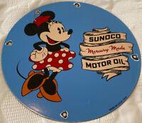 VINTAGE MINNIE MOUSE SUNOCO GASOLINE PORCELAIN SIGN GAS PUMP PLATE OIL DISNEY