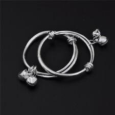 2pcs Baby Kids Bell Bracelet Newborn 925 Plated Silver Bracelet  QF