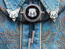 NEW AMERICA ROUTE 66 BOLO BOOTLACE TIE AND COLLAR TIPS SET,SILVER METAL,WESTERN