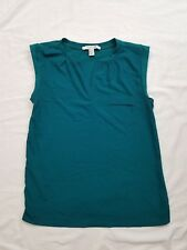 Forever 21 Women's Green Boxy Contrast Blouse Top Size Small S