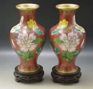 """Vintage Antique  CLOISONNE PAIR OF VASES MUMS BIRDS WITH STANDS 9.1/4"""""""