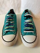 Converse All Star Blue Canvas Low Top Sneakers Shoes Womens 10 Mens 8