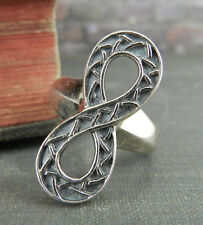 Signed JMH Ireland 925 Sterling Silver Infinity Ring