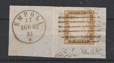 FRANCOBOLLI 1862 SARDEGNA 10 C. BISTRO OLIVA SCURO EMPOLI 17/8 C/3453