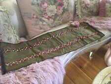 Lovely Antique Victorian Green Velvet Table Runner Metal work Trim #6