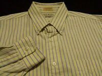 L.L. Bean Mens Large sz 16.5 Long Sleeve Button-Down Yellow Striped Shirt