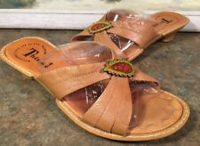 Think! Sandals Brown Size 11 Kitten Heel Hearts 84487 Made In Hungary