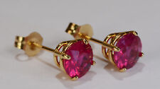 BEENJEWELED NATURAL GENUINE  RUBY EARRINGS~PREMIUM 14 KT YELLOW GOLD~6MM