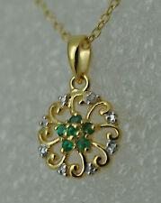 Runde Echtschmuck-Halsketten & -Anhänger mit Smaragd für Damen