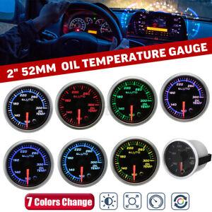 2'' 52mm 7 Color Electronic Engine Oil Temp Temperature 100-300 °F Gauge +Sensor