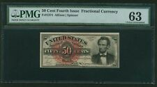 """1869-75 50 CENT FRACTIONAL CURRENCY FR-1374 """"LINCOLN"""" PMG CHOICE UNCIRCULATED-63"""