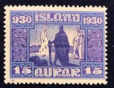 Iceland Series 1930 15 aurar Alltinget - MNH Single - Perforation Error - XF/S