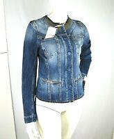 Giacca Jeans Donna Giubbotto KAOS Italy H381 Giubbino con Borchie Blu Tg S M L