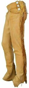 NEW MEN NATIVE AMERICAN SOFT BUCKSKIN TAN LEATHER PANT WITH FRINGES