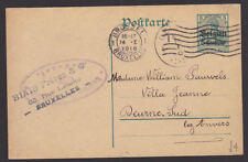 Belgium 1916 Postcard Cover German Occupation Stamp Blaise Freres Bruxelles