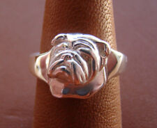 Small Sterling Silver Bulldog  English Bulldog Head Study Ring