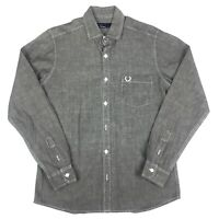 Fred Perry Mens Grey Long Sleeve Thick Cotton Button Up Size Medium