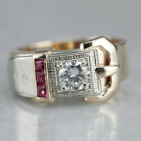 925 Silver 18k Gold Plated Ruby White Topaz Belt Buckle Ring Women Man Wedding